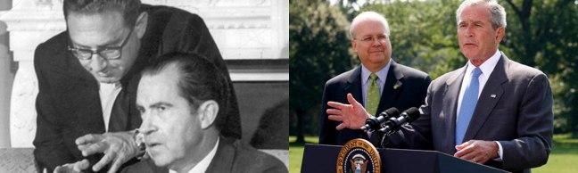 Á esquerda Henry Kissinger e Richard Nixon e á dereita Karl Rove e Jorge Bush Jr.