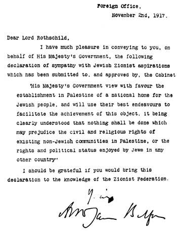 Declaración Balfour de noviembre de 1917