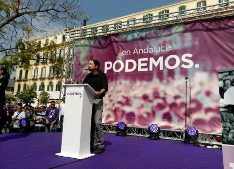 Pablo Iglesias en la Plaza de la Merced de Málaga
