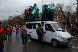 El Sindicato Andaluz de Trabajadores (SAT) encabezando la marcha de la columna sur.